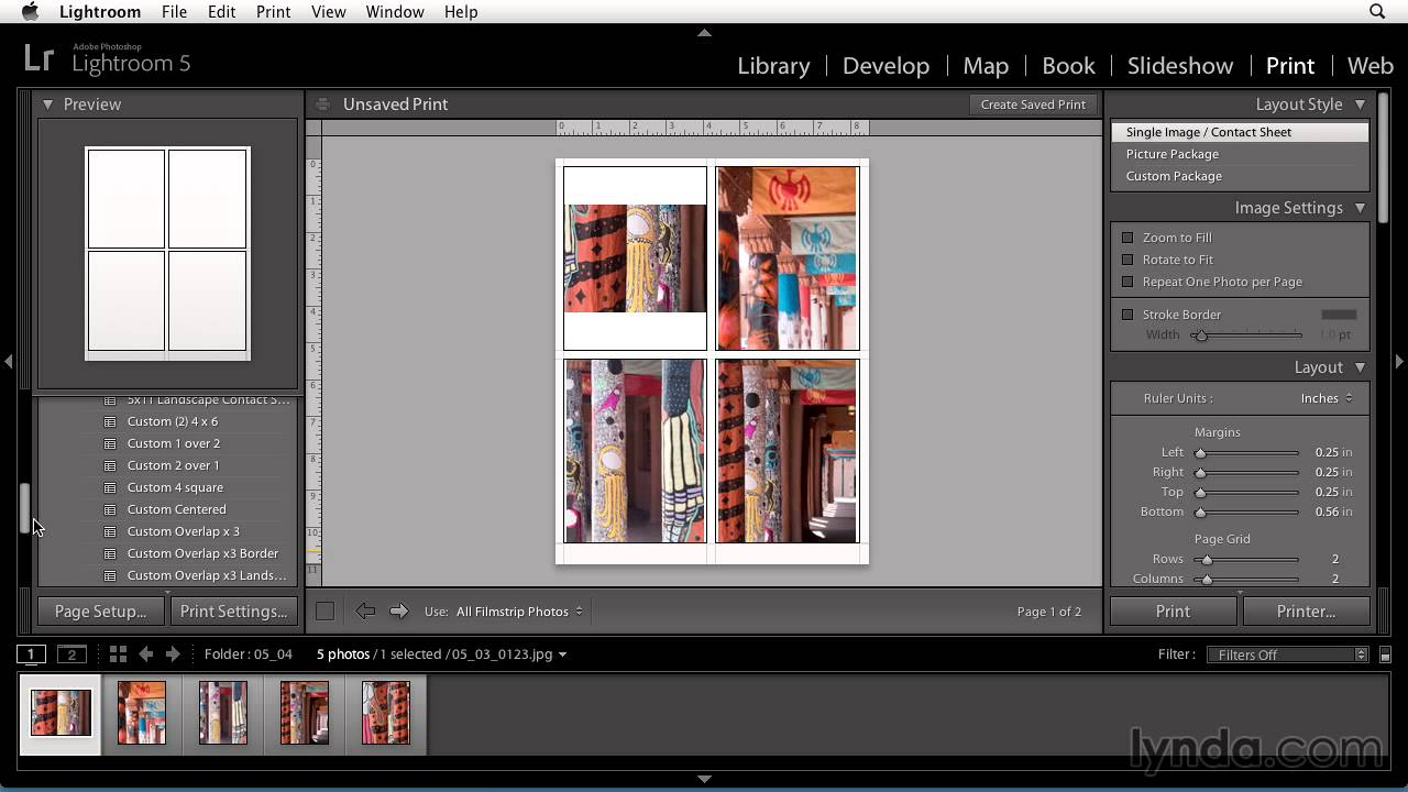 Printing photos Using Lightroom 5
