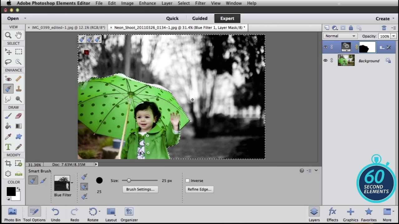 How to use photoshop to colorize a black and white photo lensvid adobe photoshop elements add splashes of color in black and white photos in 60 seconds baditri Images