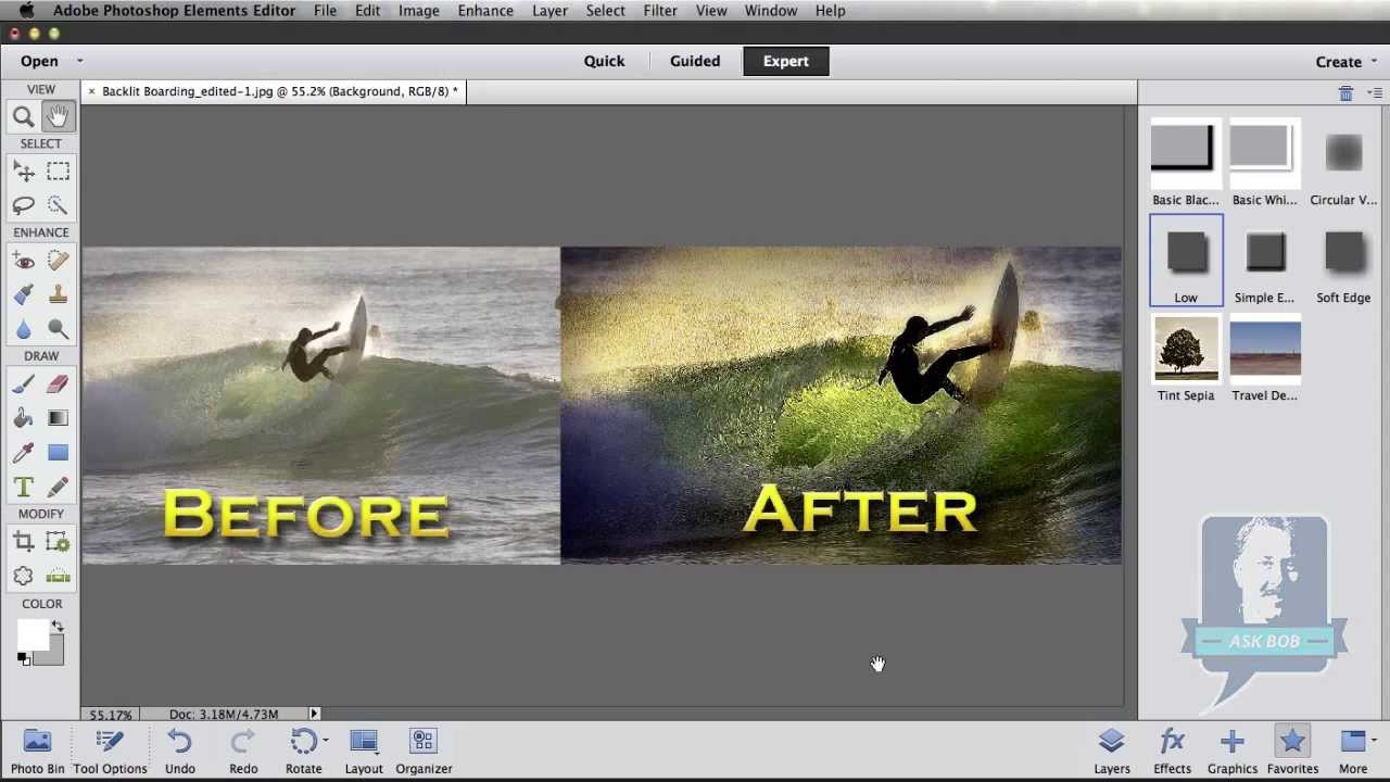 Photoshop elements tutorial how to create an infrared effect photoshop elements creating before after images baditri Gallery