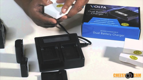 Volta Dual Battery Charger with Interchangeable Charging Plates Sony Canon NIkon etc