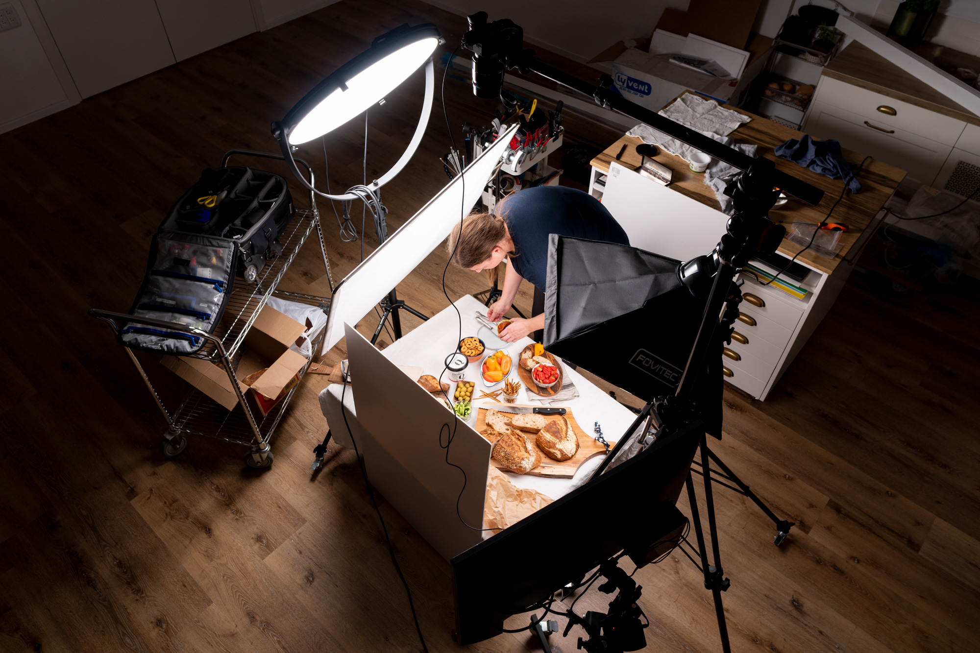 Shooting food with LEDs (notice the darkened room)