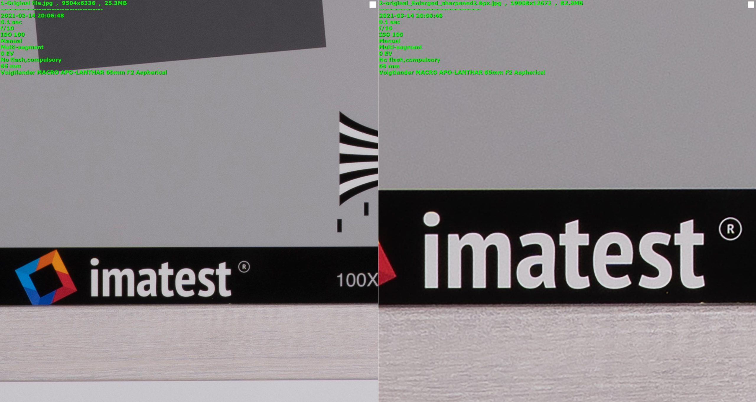 Original [left] vs. Enlarged Original with Unsharp Mask - 4 times the scale (25MB vs. 82MB files sizes)