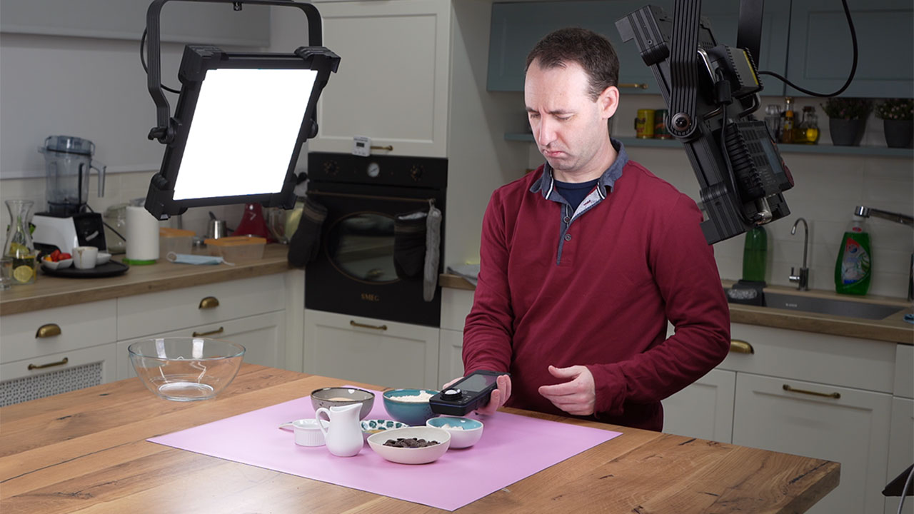 Using the C-800 to test the light in a scene in our studio