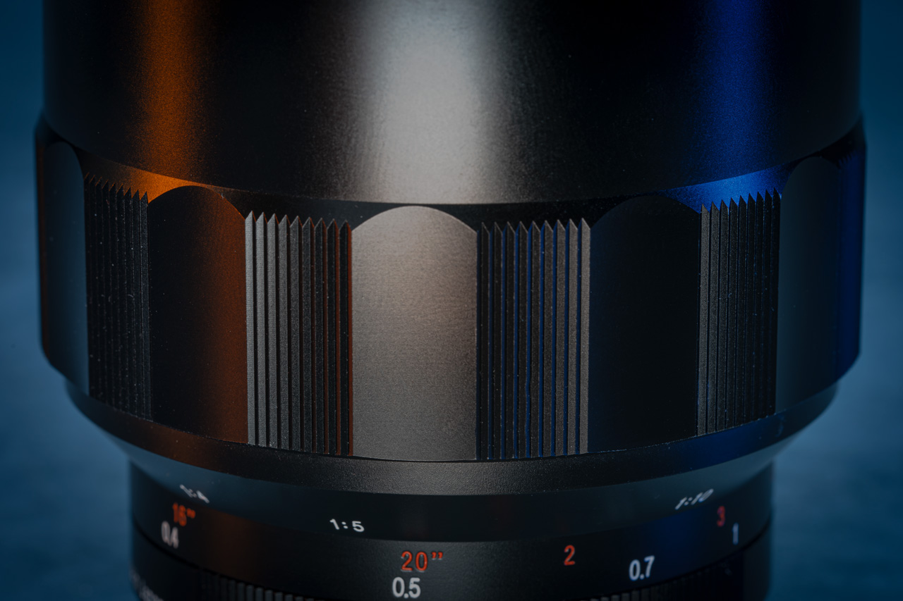 A close up of the unique looking focus ring on the Voigtländer 65mm f/2 lens