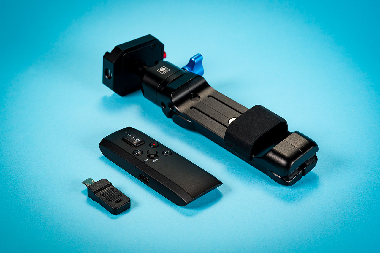 Three in one - mini metal tripod, remote and BT dongle for older cameras